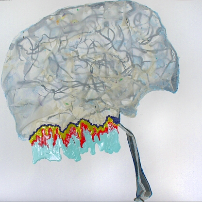 "GRAY MATTER - ink and watercolor pastel on paper with random cut pieces of muslin fabric to cover this cerebral angiography-like image. the ""word vomit"" is dried acrylic paint, which is intentionally vivid yet small in comparison to what's going on in this persons head!"