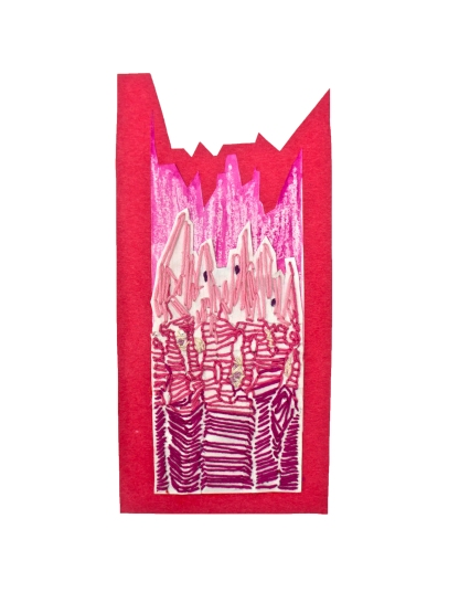 MUSCLE TISSUE - construction paper, embroidery/friendship bracelet thread, crayon+watercolor. this is supposed to show the three types of muscle tissue, the white crayon under is the bone where the fibers are attaching like in a cross section what do you call those drawings where parts are pulled back help