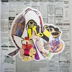 THE HEAD - magazine cutouts yay! if you can kinda see the shape of a head, with its larynx (voice box) the reddish flower looking thing where the neck is, i made it linked to the ear. the yellow gears with the eyeball on one them make up the middle ear(malleus/incus) and the other yellow ones from a photo of lemon bars are the canals which eventually leads to the tree stump/shell that resembles the cochlea of the inner ear. there's toes stuck in it who knows why!