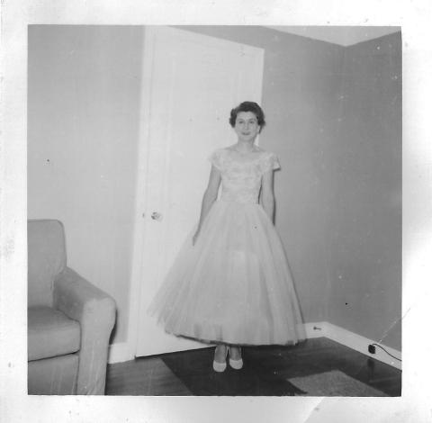 Maid of house dress June white lace over aqua top aqua tulle + net skirt white overskirt