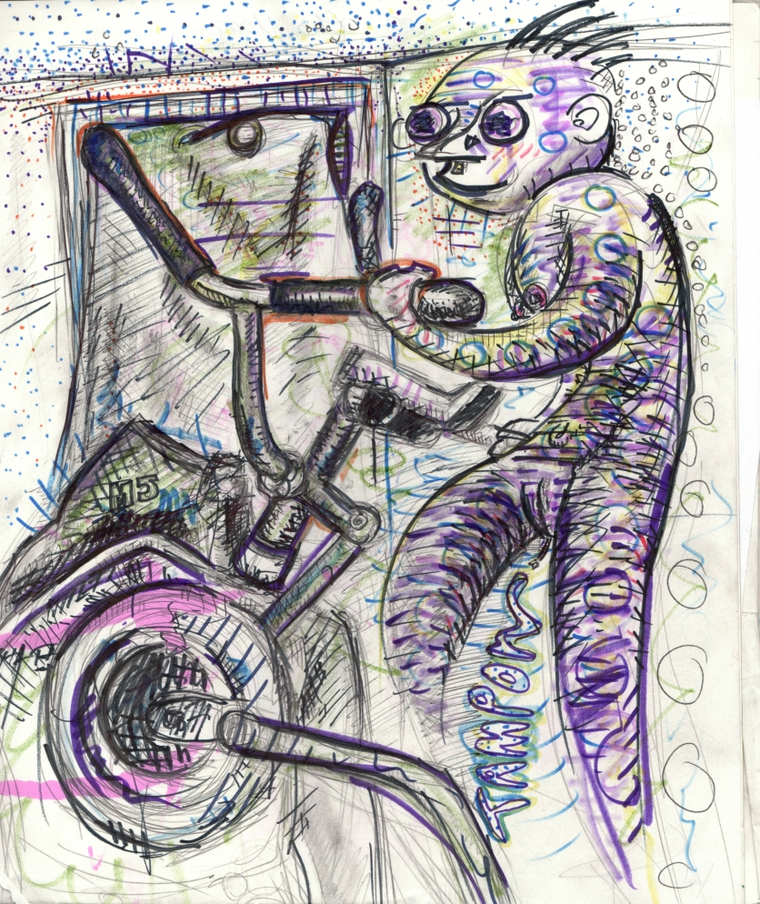 I was home alone listening to Regina Spektor and Radiohead while a beetle died next to me in a little blue cup. My sister's strange work out contraption was next to me so I drew it, as well as the friendly ghost that's been trying to work some weight off it's chest. He's been working hard for quite a while but can't seem to lose enough to reach the afterlife. I still believe in him though. He makes good company.