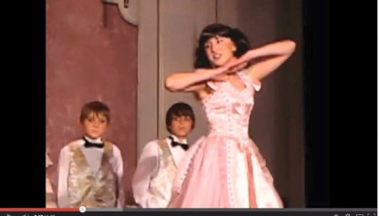 """Jake, Alex and Sophie in middle school play, """"Annie Get Your Gun"""", ages 11, 12, and 13."""
