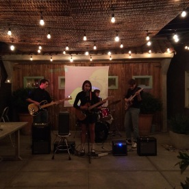 November 2014: First official show in Alex's backyard, all wearing turtlenecks for the occasion.