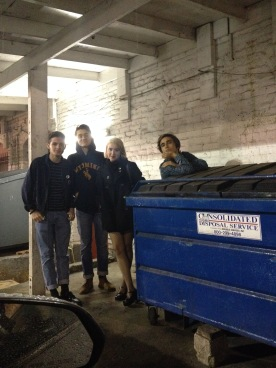 January 2015: Awkward pics by trashcans before Janelane's first paid show at Amplyfi.