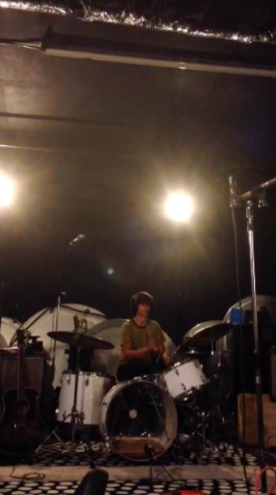 "March 2015: Lucas recording drums for the ""Peaches and Cream"" EP upstairs at the Laemmle in Pasadena."