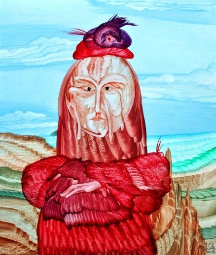 Mujer de rojo Series Extravaganza, 2016, oil on cardboard,-Mauricio Paz Viola.-
